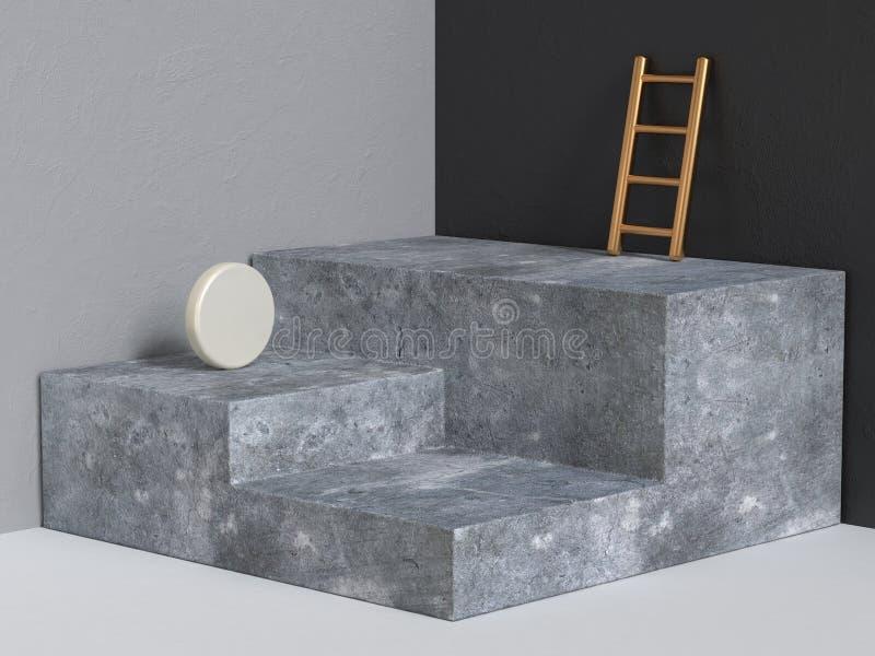 der konkreten geometrische schwarze graue Eckwand Podium-Zusammenfassung der Wiedergabe 3d lizenzfreie abbildung