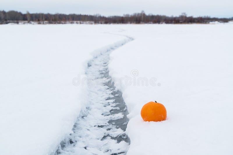 Der Kontrast der Wärme der Frucht und der Winter gefrieren mit einem Sprung auf dem Eis, das zur Horizontlinie, ein kämpfender Sp lizenzfreie stockfotos