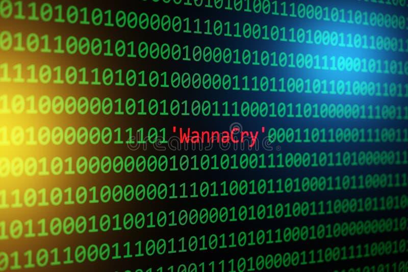 Der Konzept-Sicherheits- und Schadsoftwareangriff WannaCry und des binär Code lizenzfreie stockbilder