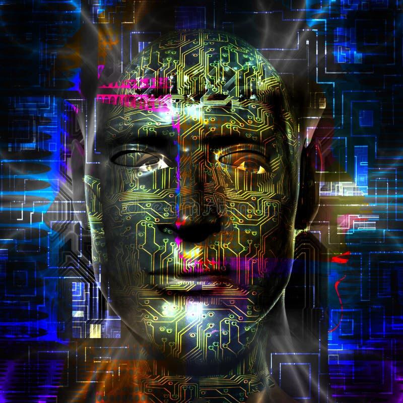 Der Kopf des cyborgs lizenzfreie abbildung