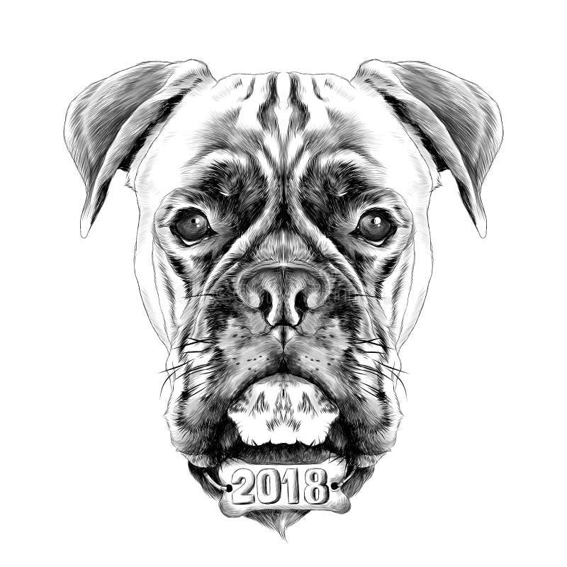 der Kopf des Hunderasseboxer-Hundehalsrings stock abbildung