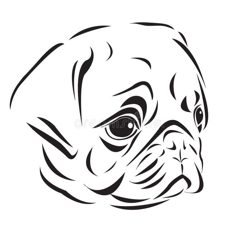 Der Kopf des pugs vektor abbildung