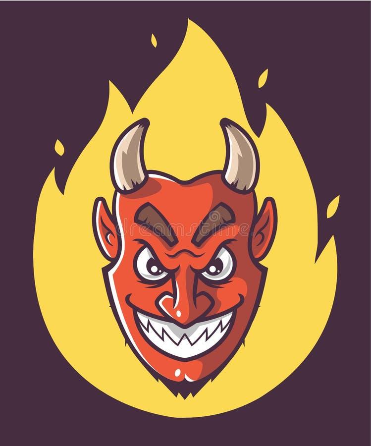 Der Kopf des Satans brennt Purpurroter Hintergrund vektor abbildung