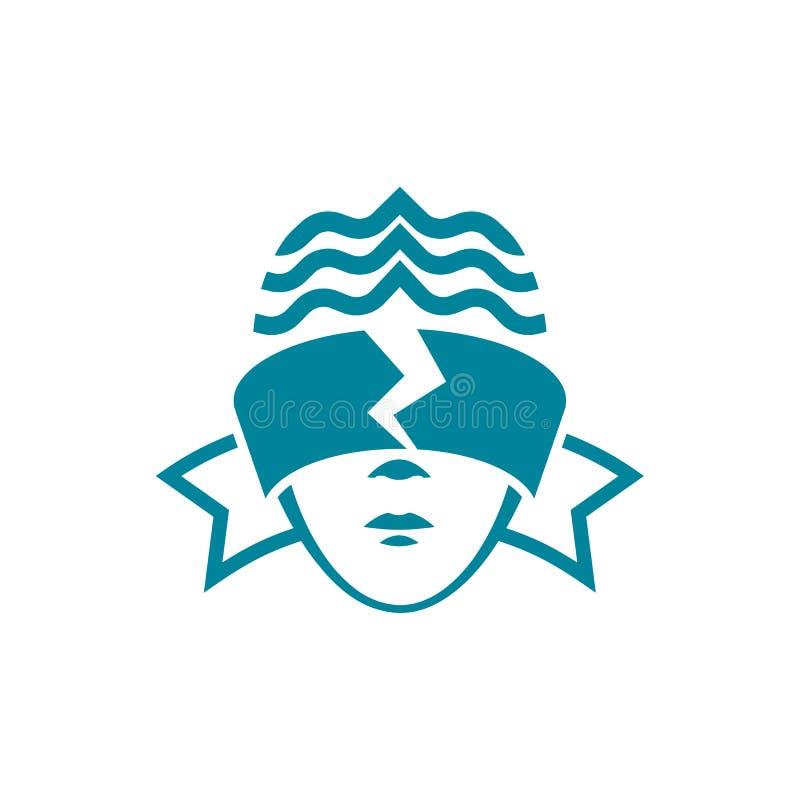 Der Kopf einer Frau mit Augen mit verbundenen Augen, die zerrissen wird Legale lineare Artlogoschablone stock abbildung