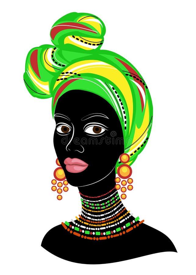 Der Kopf einer netten Dame Auf dem Kopf des Afroamerikaners wird einem M?dchen ein helles Taschentuch, ein Turban gebunden Die Fr vektor abbildung