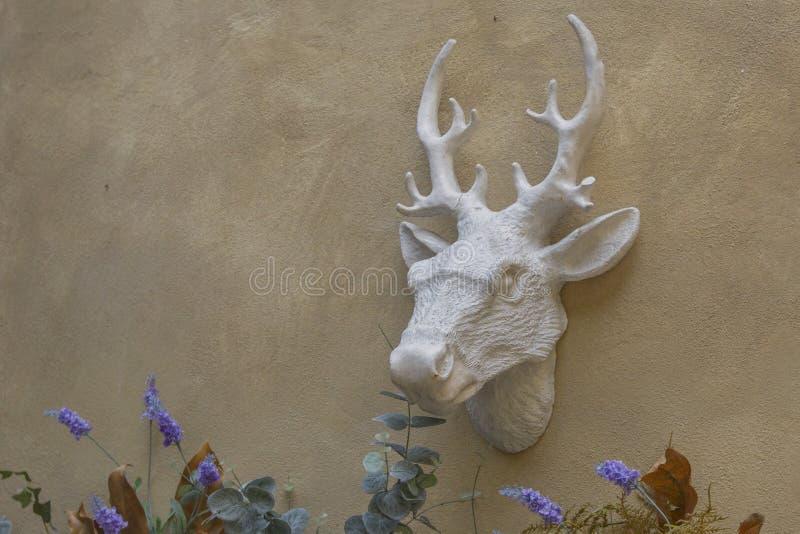 Der Kopf eines Rotwilds mit Hörnern hängt an einer strukturierten Stuckwand Gartenfigürchen, dekorative Dekoration stockfoto