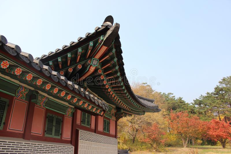 Der koreanische Palast des Kaisers, Gyeongbokgungs-Palast im Herbst, Seoul, Südkorea lizenzfreies stockfoto