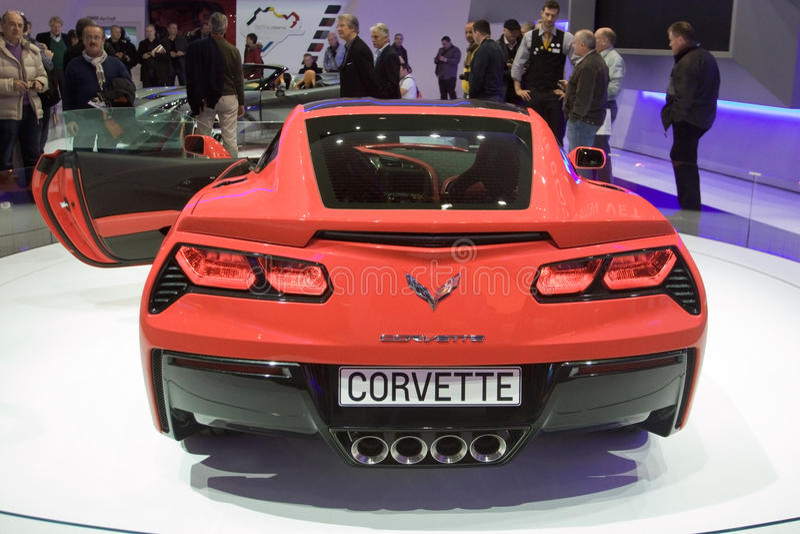 KorvetteStingray 2014 C7 - Genf-Autoausstellung 2013 stockbild