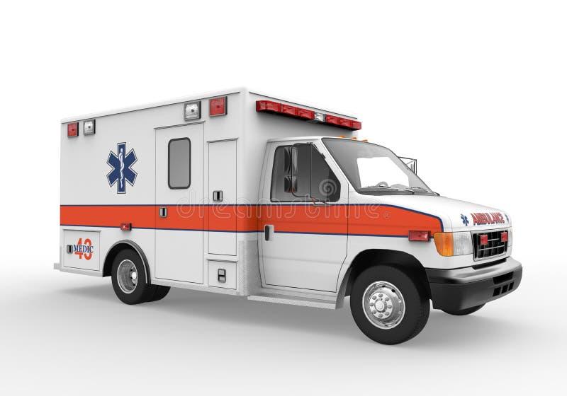 Krankenwagen lokalisiert auf weißem Hintergrund stock abbildung