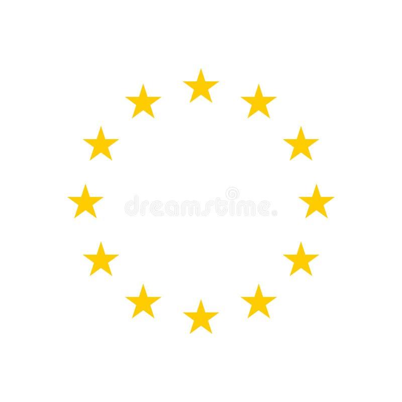 Der Kranz von Sternen der EU lokalisierte auf weißem Hintergrund vektor abbildung