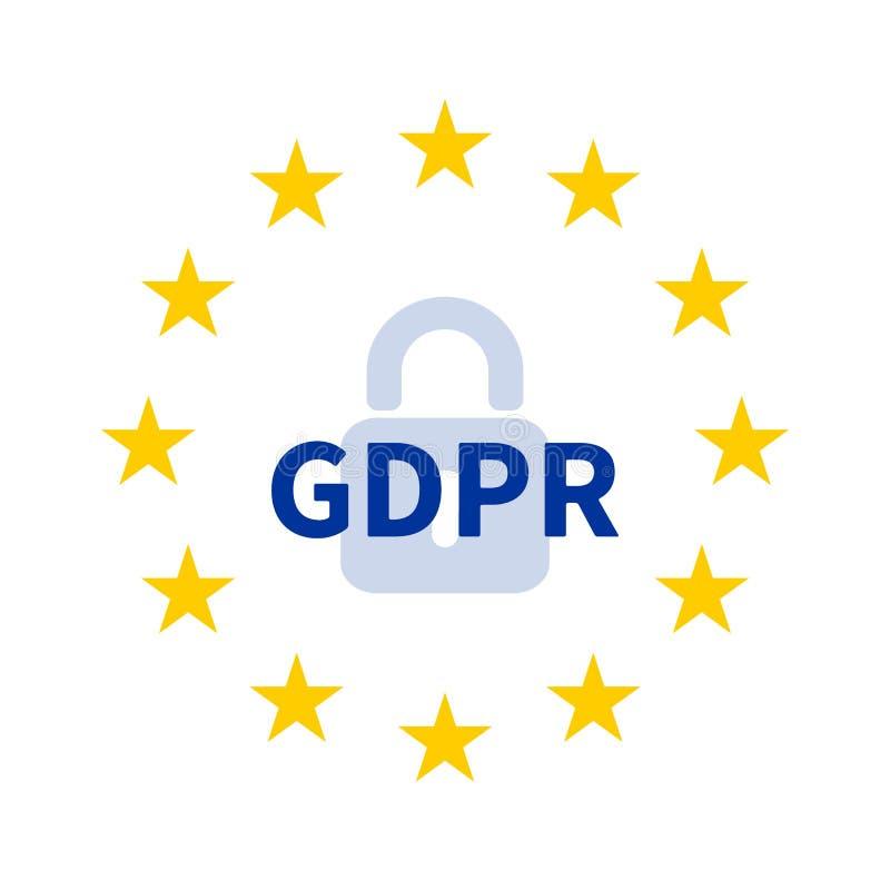 Der Kranz von Sternen der EU mit Vorhängeschloß und GDPR/allgemeine Daten-Schutz-Regelung lizenzfreie abbildung