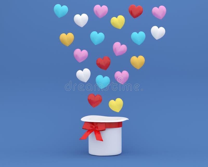 Der kreative Ideenplan, der von den bunten Herzen gemacht wird, formen mit Hut auf blauem Hintergrund minimales Konzept der Liebe lizenzfreie stockfotografie