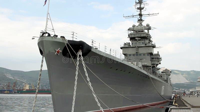 Der Kreuzer Mikhail Kutuzov - das Schiffmuseum stock footage