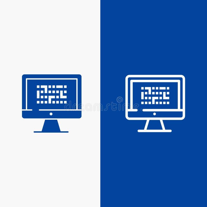 Der Kriptographie, der Daten, Ddos, der Verschlüsselung, der Informationen, der Problem-Linie und des Glyph der festen Ikone Blau vektor abbildung