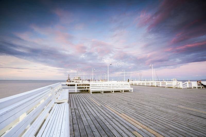 Der längste hölzerne Pier in Europa lizenzfreies stockfoto