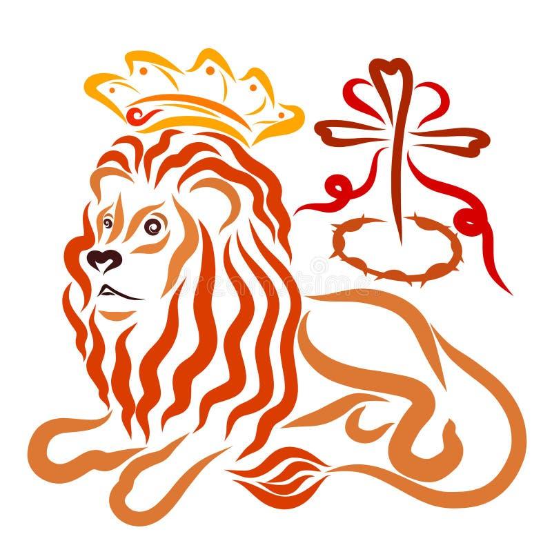 Der Löwe in der Krone, die christliche Rettung, das Kreuz, das c vektor abbildung