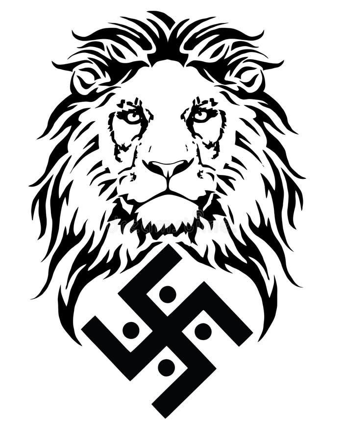 Der L?we und das Symbol der indischen Religion von Jainismus - das Hakenkreuz vektor abbildung