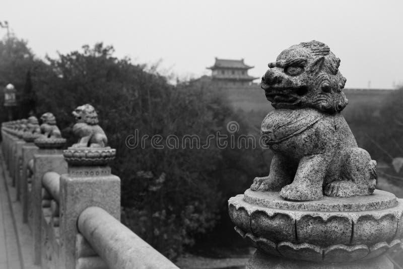 Der Löwe und der alte Stein lizenzfreies stockbild