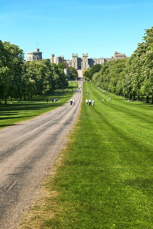 Der landschaftlich gestaltete weite Spaziergang von Windsor Castle-Park stockbilder