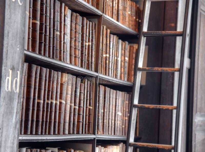 Der lange Raum in der alten Bibliothek am Dreiheits-College Dublin lizenzfreies stockbild