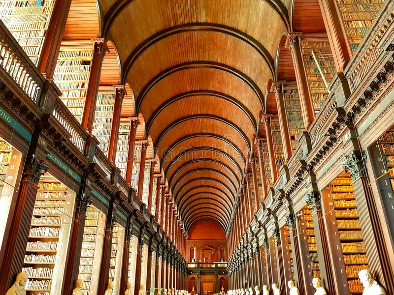 Der lange Raum im Dreiheits-College stockfoto