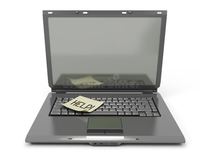 Der Laptop mit einem Aufkleber auf der Tastatur vektor abbildung