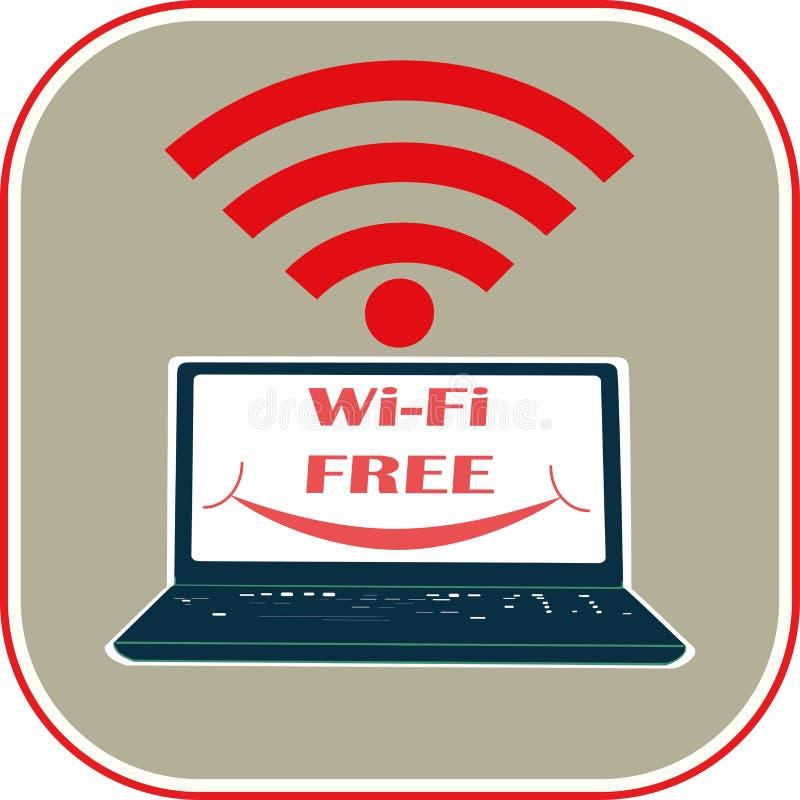 Der Laptop mit einem L?cheln, das Symbol von Wi-Fi ist, f?r Benutzerschnittstelle, Netzspiele frei, Tabletten, Tapeten und Schabl lizenzfreie abbildung