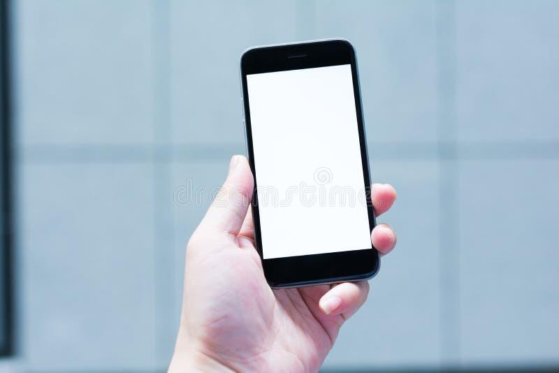 Der leere und weiße Schirm des intelligenten Telefons stockbild