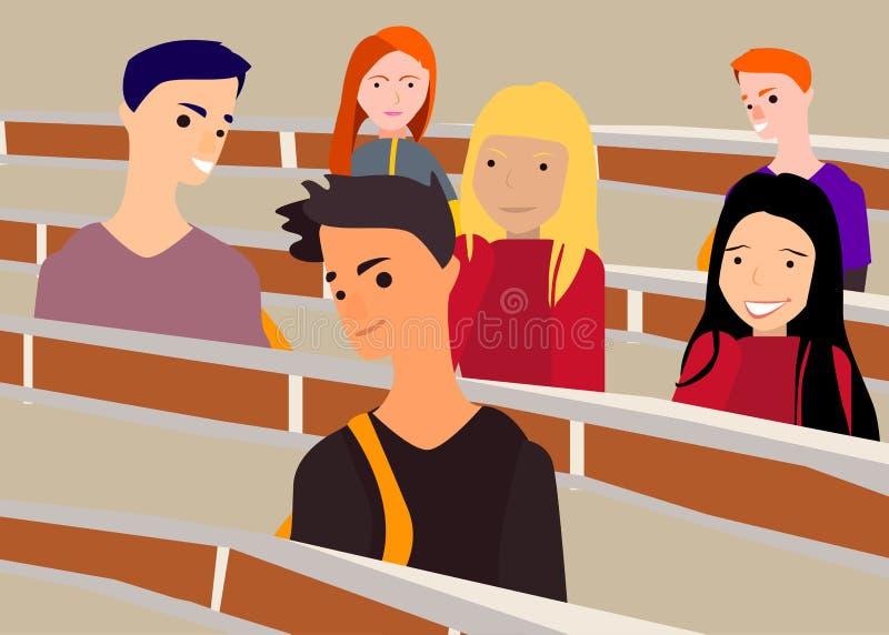 Der Lehrer an der Universität unterrichtet Studenten Schreibtische, Wissen, Studenten lizenzfreie abbildung