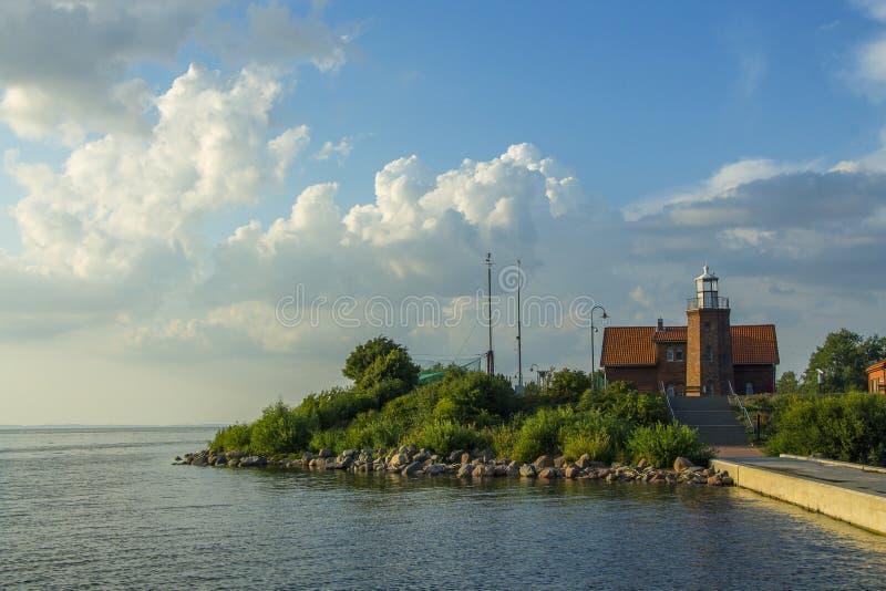 Der Leuchtturm des Kaps Vente, Nemunas-Delta, Litauen stockfotos