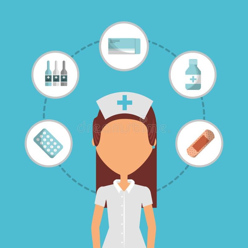 Der Leute-ersten Hilfe der Krankenschwester medizinische Ikonen stock abbildung