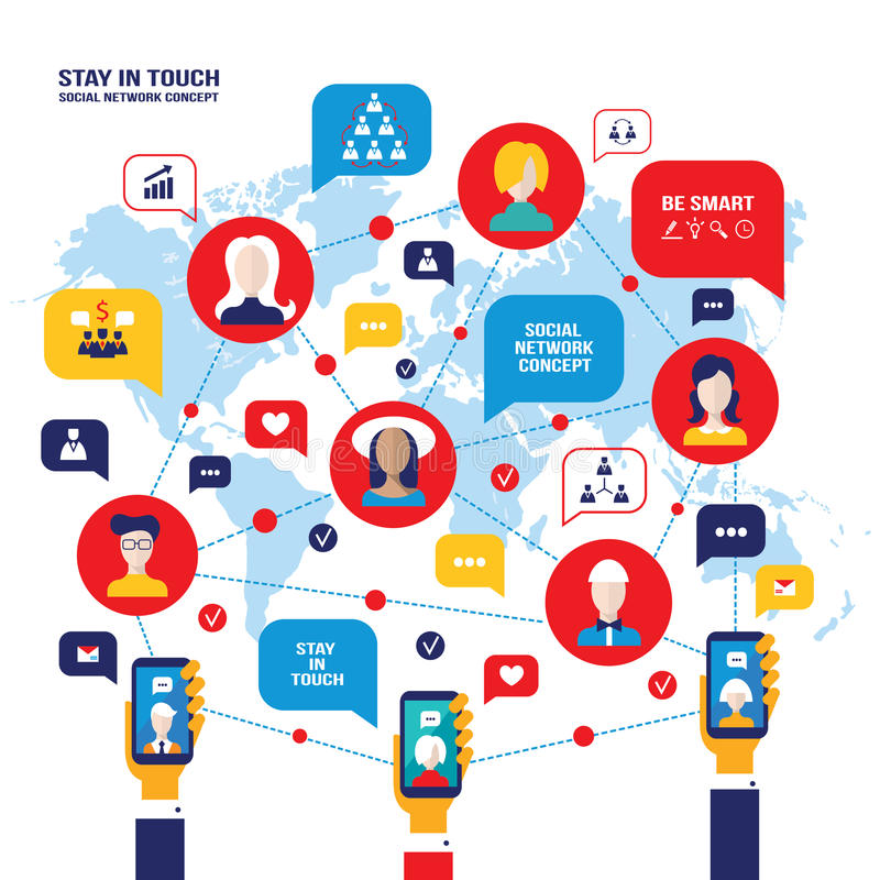 Der Leuteavataras Konzept des Sozialen Netzes Telefon-Geschäftsikonen bewegliche intelligente für Netz lizenzfreie abbildung