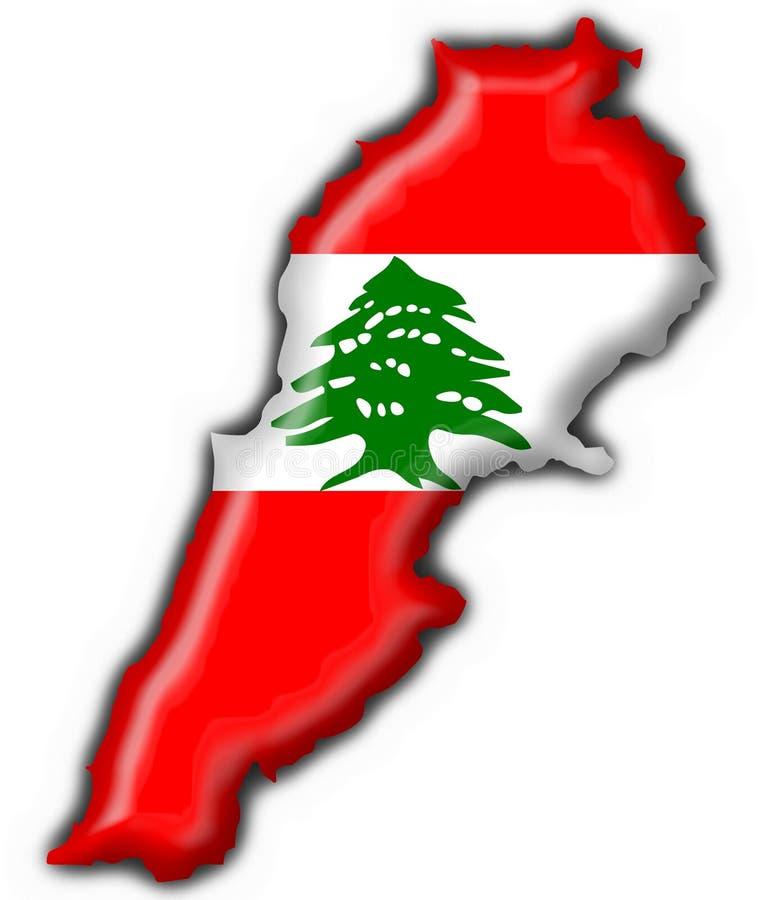 Der Libanon-Tastenmarkierungsfahnen-Kartenform lizenzfreie abbildung