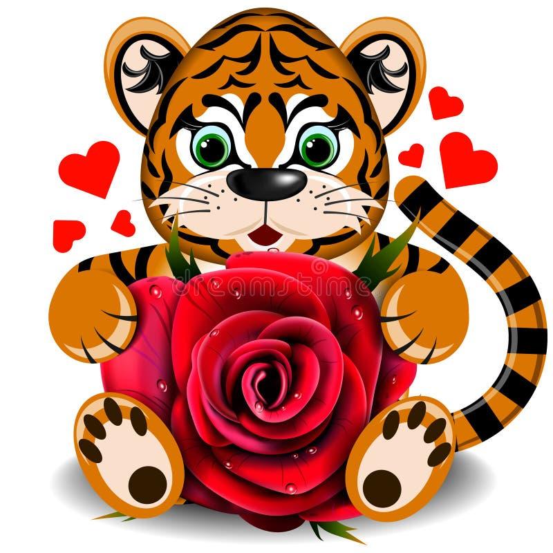 In der Liebe mit einem Spielzeugtiger mit realistischer Rotrose stock abbildung