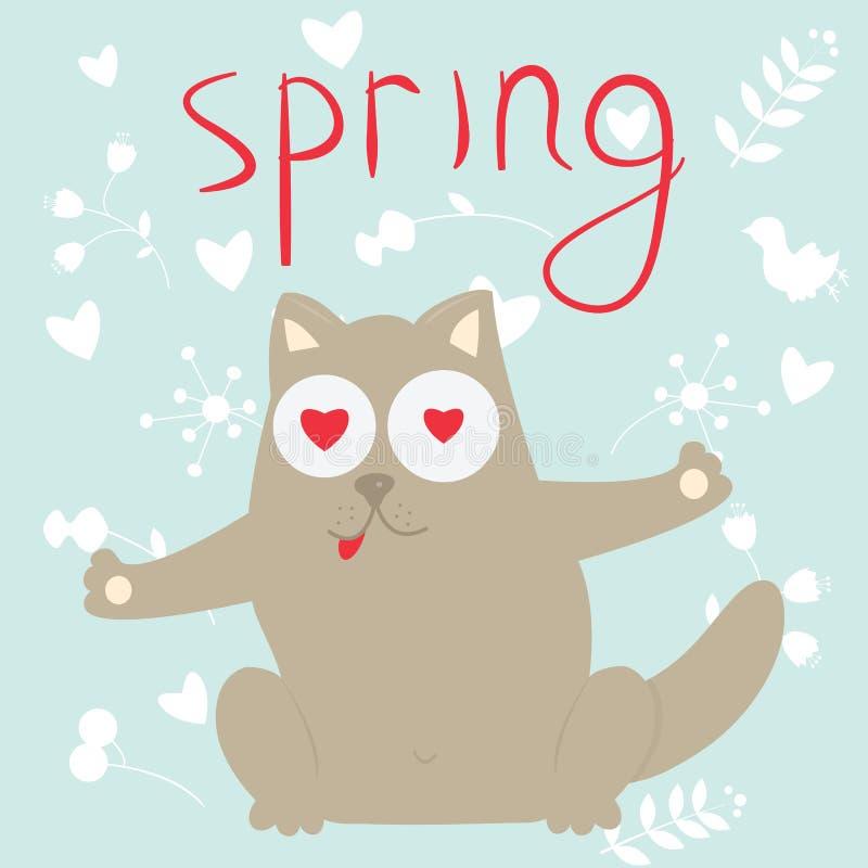 In der Liebeskarikaturkatze auf einem Frühling vektor abbildung