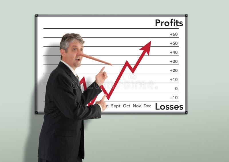 Der liegende unehrliche Geschäftsmannbörsenmakler w, der Pinocchio wächst, riechen lizenzfreie stockbilder