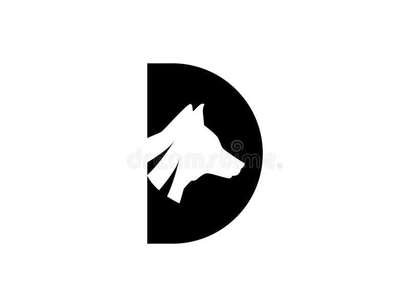 Der Logoentwurf ist der Kopf des Hundes im Verbindung mit dem Buchstaben D vektor abbildung