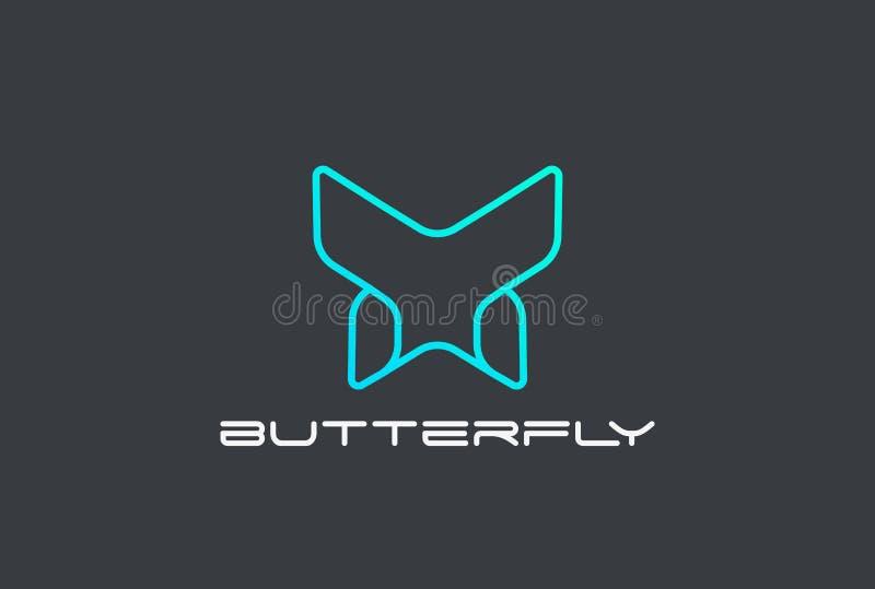 Der Logovektor-Schablone Zusammenfassung des geometrischen Designs des Schmetterlinges lineare Art Firmenzeichen-Konzeptikone Tec lizenzfreie abbildung