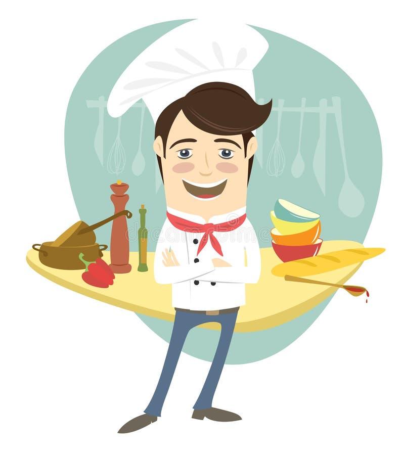 Der lustige Chef, der mit seinen Armen steht, faltete sich in der Küche stock abbildung