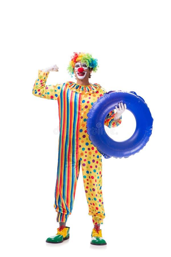 Der lustige Clown auf weißem Hintergrund lizenzfreies stockfoto