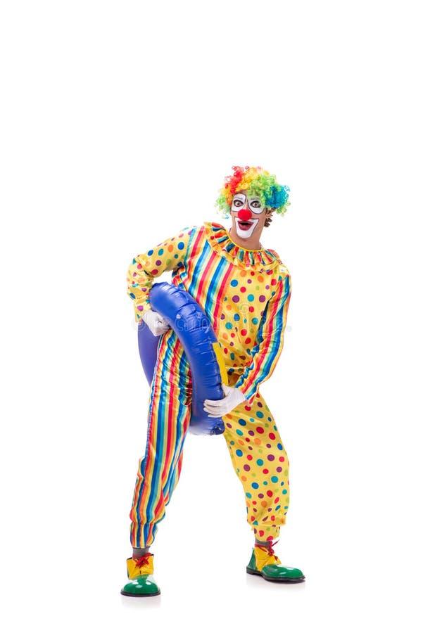 Der lustige Clown auf weißem Hintergrund lizenzfreie stockbilder