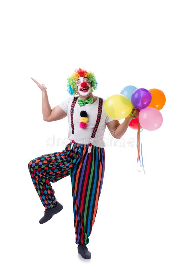Der lustige Clown mit den Ballonen lokalisiert auf weißem Hintergrund stockbild