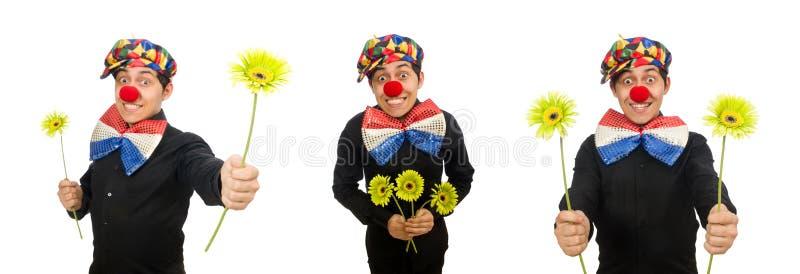 Der lustige Clown mit den Blumen lokalisiert auf Weiß stockfotografie