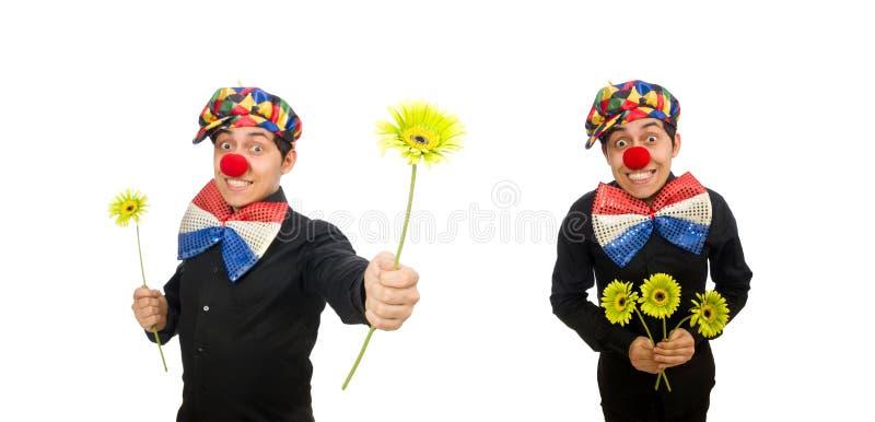 Der lustige Clown mit den Blumen lokalisiert auf Weiß lizenzfreie stockfotos