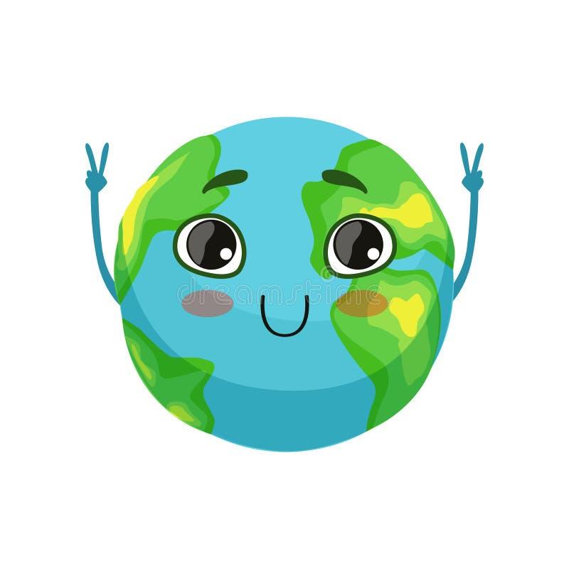 Der lustige Erdplanetencharakter, der Siegeszeichen zeigen, die nette Kugel mit smileygesicht und die Hände vector Illustration stock abbildung