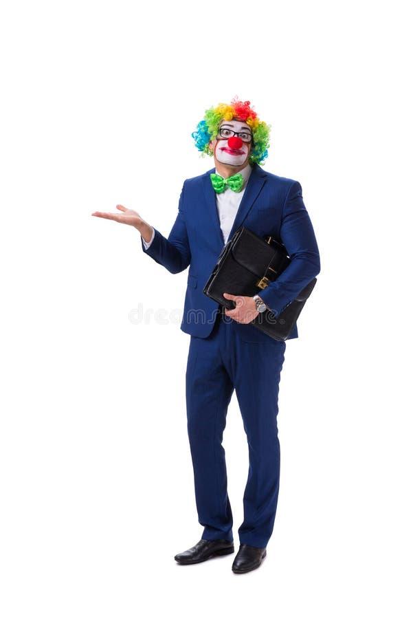Der lustige Geschäftsmannclown lokalisiert auf weißem Hintergrund stockbilder