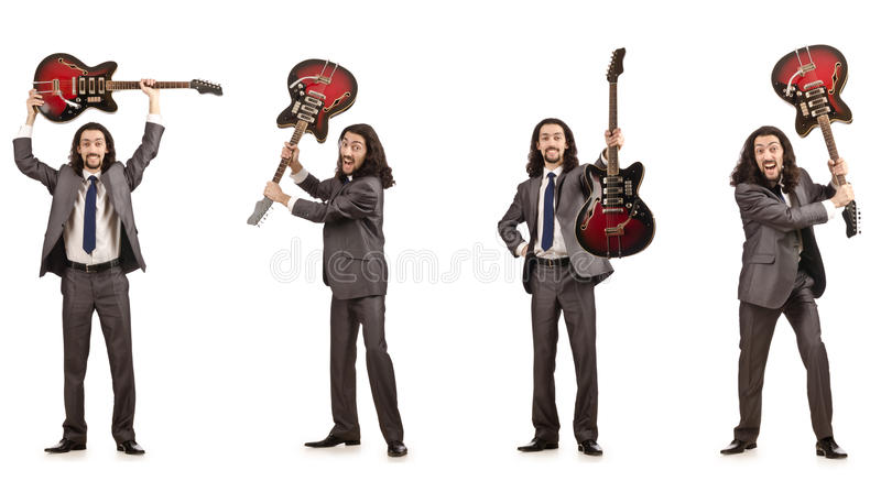Der lustige Gitarrist auf Weiß lizenzfreie stockbilder