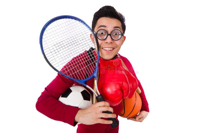 Der lustige Mann im Sportkonzept auf Weiß stockfotografie