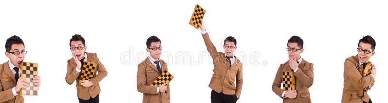 Der lustige Schachspieler lokalisiert auf Weiß stockfotos