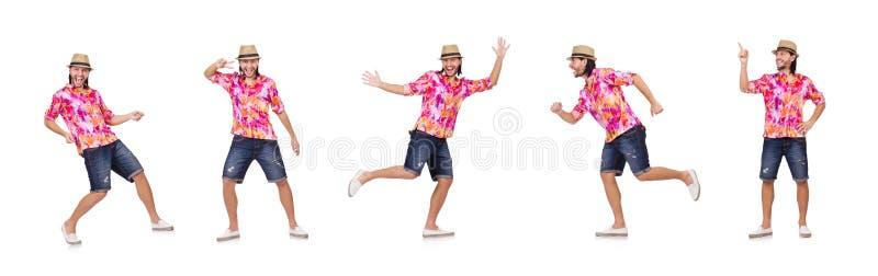 Der lustige Tourist auf Weiß stockbild